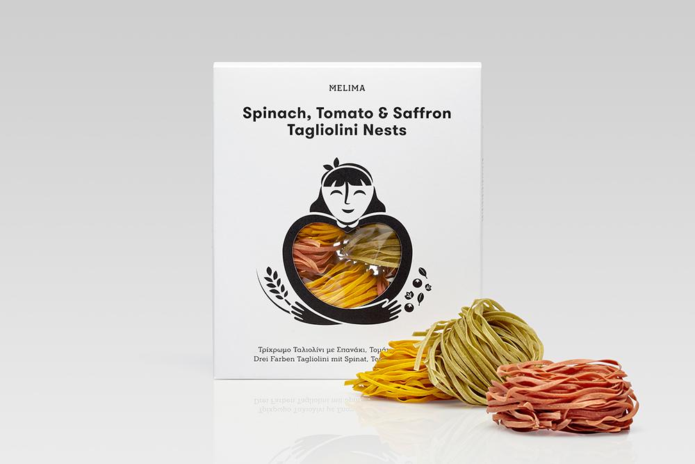 Τρίχρωμο Ταλιολίνι με Σπανάκι, Τομάτα & Ζαφορά